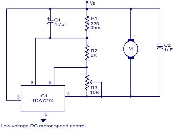 Low voltage dc motor speed control circuit using tda7274 for Low speed dc motor 0 5 6 volt