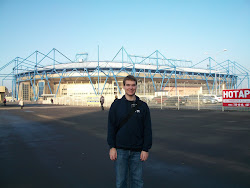 Chris in front of the Kharkov Soccer Arena on his P-Day