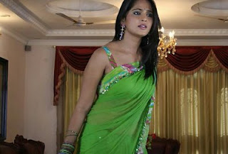 Anushka in Green Hot Saree
