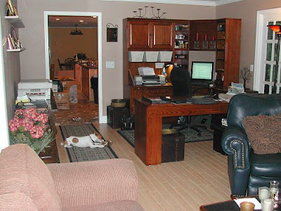 My office area looking from the TV end of the room: