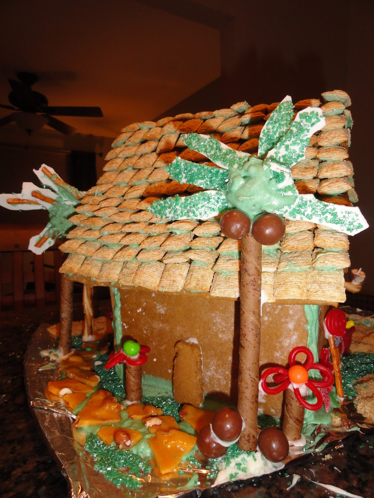 Next step 3rd annual gingerbread house decorating for Tropical themed house