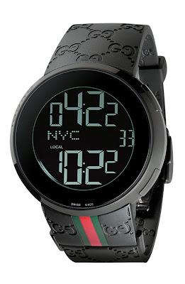 Gentleman Quarterly: Black GQ Fashion: Gucci Rubber Band Digital Watch