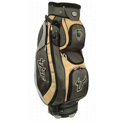 University of South Florida (USF) Bulls golf bag colored green, gold, and black.