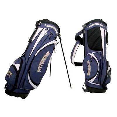 University of Pittsburgh (Pitt) Panthers golf bag colored blue, gold, and white.