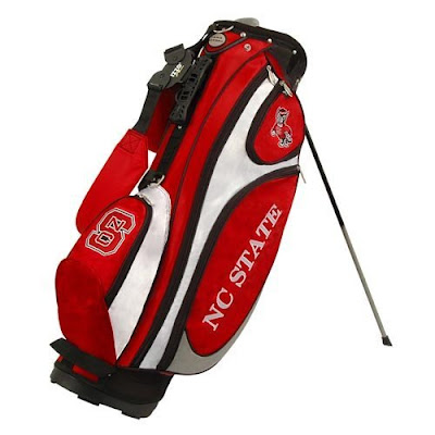 North Carolina (NC) State University golf bag colored white, black, and red.