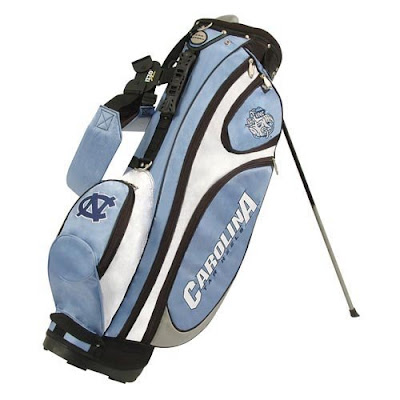 University of North Carolina (UNC) Tar Heels golf bag colored Carolina blue, baby blue, white, and black.