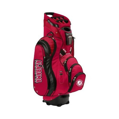 University of Alabama Crimson Tide golf bag. Red Bama golf bag for golf carts standing upright.