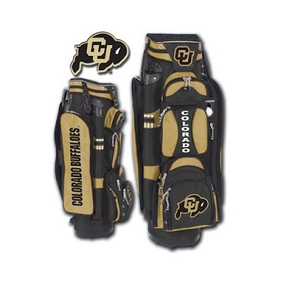 University of Colorado (CU) Buffaloes golf bag colored in black and gold.