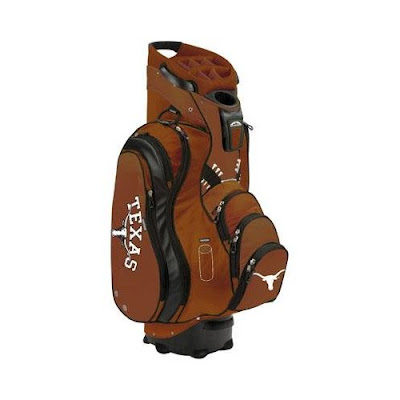 University of Texas (UT) Long Horns golf bag colored in orange and white.
