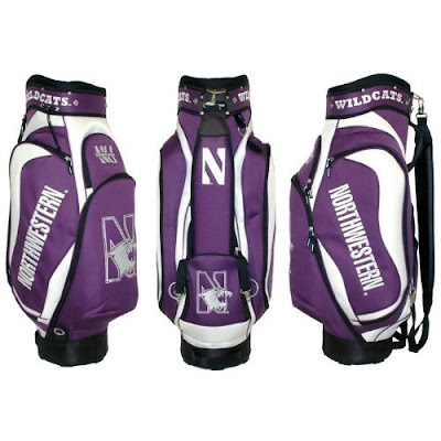 Northwestern University Wildcats golf bag colored purple and white.