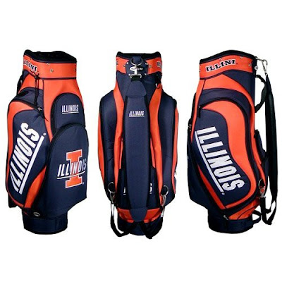 University of Illinois Illini golf bag colored blue and orange.