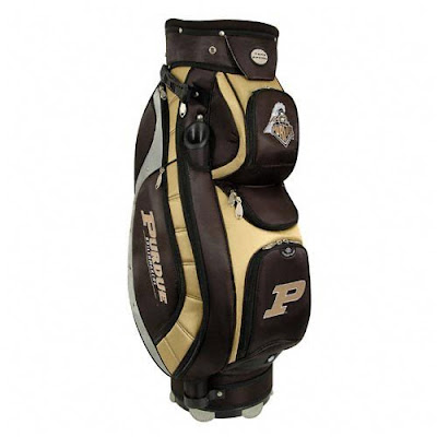 Purdue University Boilermakers golf bag colored black and gold.