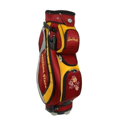 Arizona State University (ASU) Sun Devils golf bag colored maroon, red, gold, and yellow.