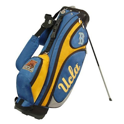 UCLA Bruins golf bag colored blue,gold, and yellow.