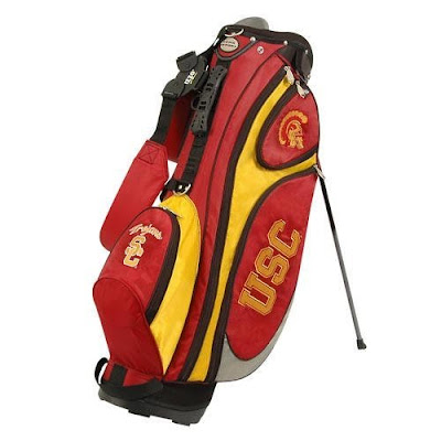 Southern Cal (USC) Trojans golf bag colored cardinal, red, gold, and yellow.