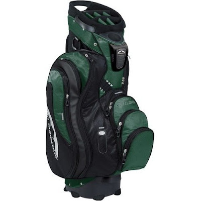University of Hawaii Warriors colored golf bag that is dark green and black.