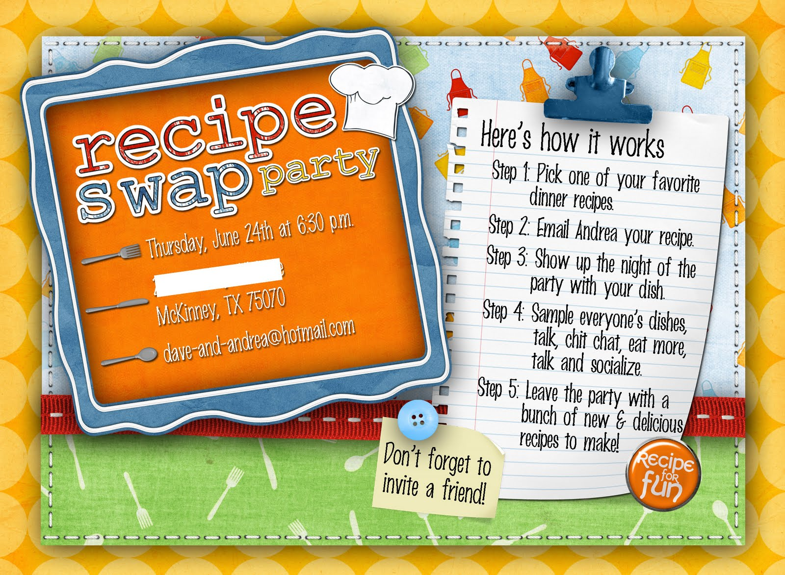 Slightly Askew Designs: Recipe Swap Party Invite