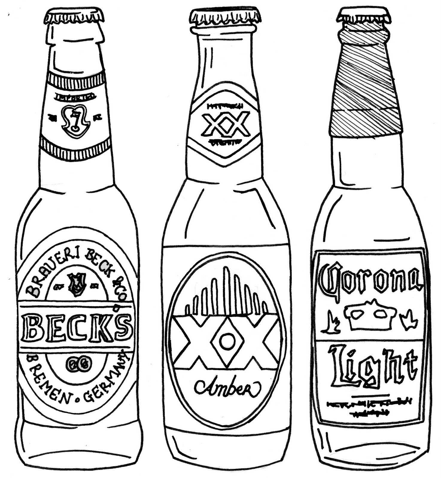 One Line Art Beer : Beer bottle line drawing sketch coloring page