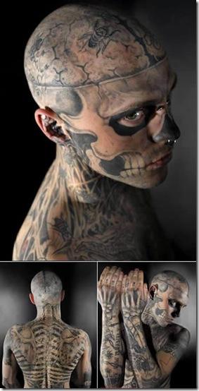 foto tatuaje cuerpo dama. Se llama Rick y es de Canadá, hasta ahora lleva más de 24 horas de tatuajes,