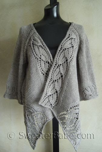Lace Cardigan Knitting Pattern : I Knit and Tell: Sweaterbabes Dramatic Lace Wrap Cardigan