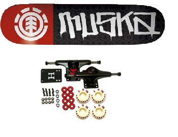skate element tamaño 7 75 truks element negro rojo ruedas element