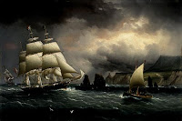 The Clipper Ship 'Flying Cloud' off the Needles, Isle of Wight - James E Buttersworth, 1859-60, via Wikimedia Commons - public domain