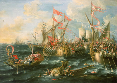 When Hanther ran away, her enemies seldom ended up smiling about it...  - The Battle of Actium, by Lorenzo A Castro (1672) - public domain, via Gdr at Wikimedia Commons