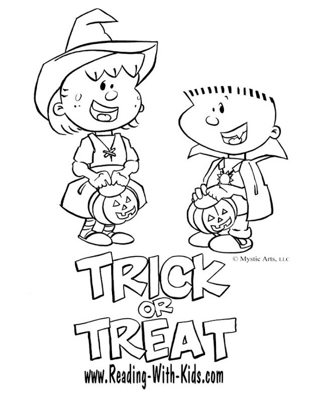 Trick Or Treat Coloring Pages, Halloween Trick Treating Printables title=