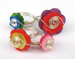 Beady Button Rings
