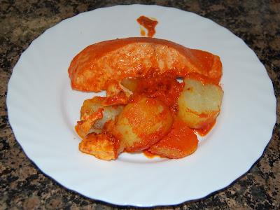 Salmón con salsa de pimientos del piquillo