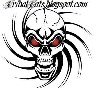 Skull Tribal Tattoo Design