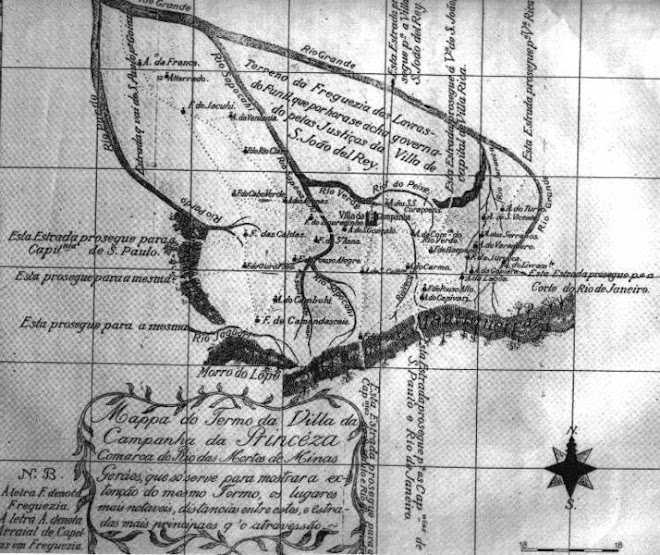 Mapa da região de Campanha em 1814 , onde viveu Franscisco Barbosa Sandoval , falecido em 1833