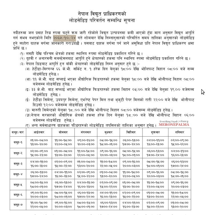 nea load shedding schedule download