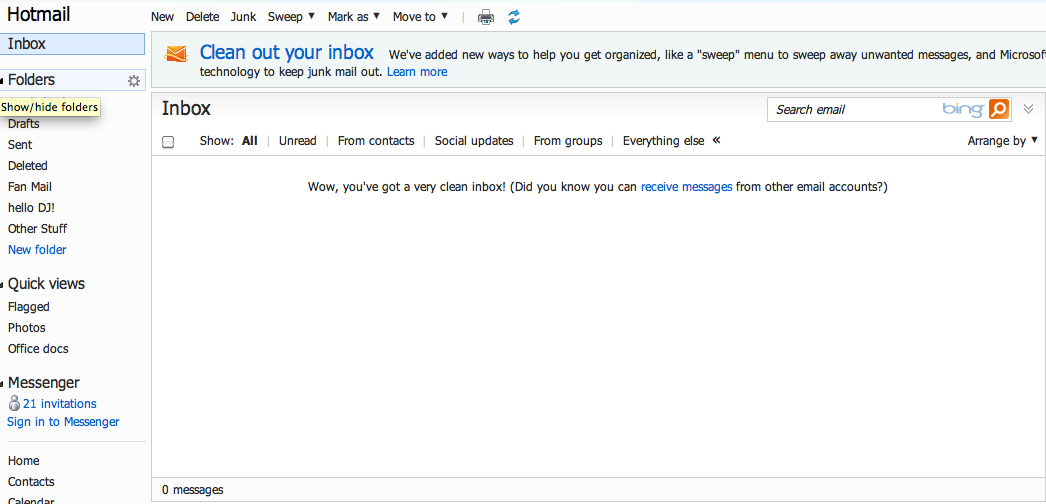 Why is my hotmail inbox empty