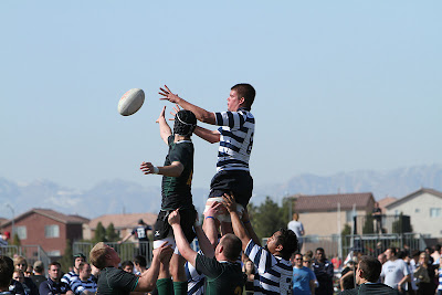 BYU Rugby Lock Kyle Lontine looks to bring in another line-out ball
