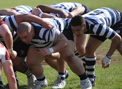 BYU Rugby Prop Mikey Su'a and Flanker Moana Hafoka crouch in anticipation of the scrum