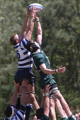 Flanker Nate Maughan stretches high to secure the line-out