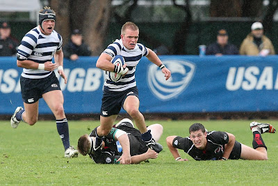 BYU Rugby Scrumhalf Shaun Davies eludes SDSU defenders in the 2009 Big Four semifinals