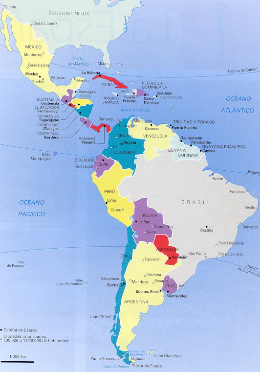 Mapa de Hispanoamérica