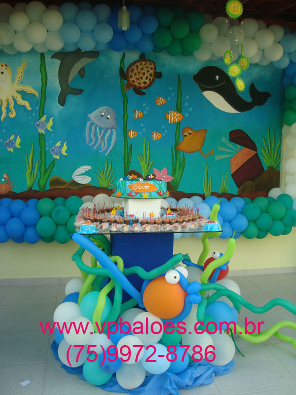 Mesa Do Bolo E Doces   Decora    O De Peixinhos E Algas