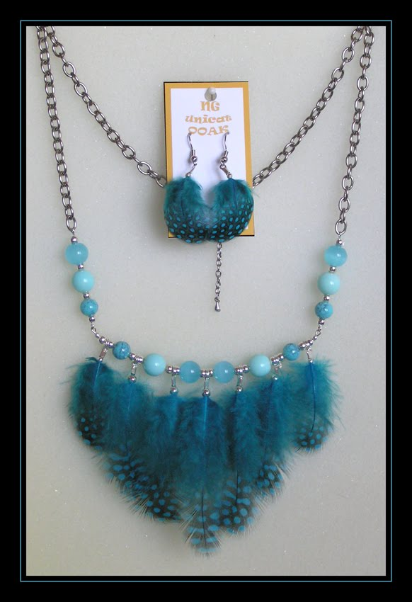 Guinea Fowl Blue Necklace and Earrings