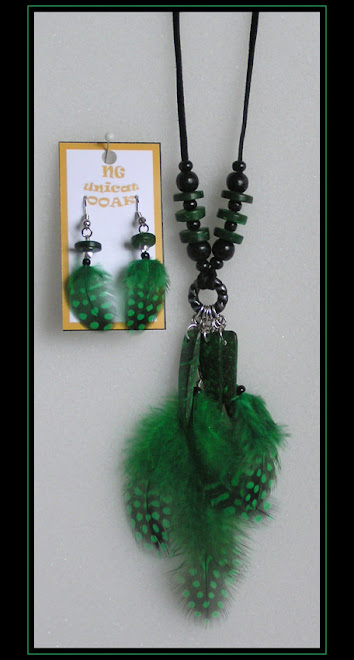 Guinea Fowl Green Necklace and Earrings II