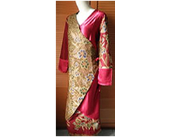 Abaya batik kombinasi kain polos warna pink