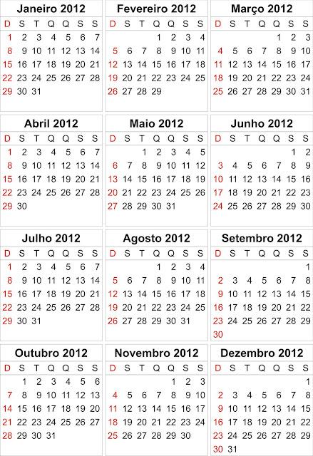 CALENDÁRIO 2012 | FERIADOS NACIONAIS | IMPRIMIR | 2O12