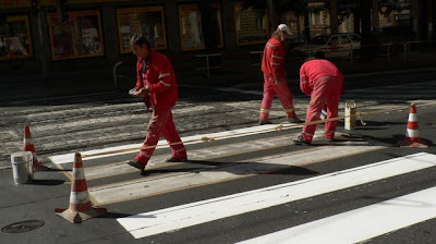 Prague crosswalk gets a refresher coat
