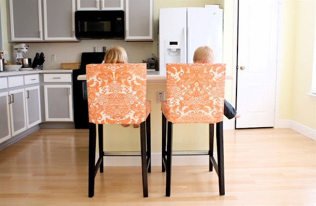 Oilcloth chairs made everyday - Bar height chair slipcovers ...