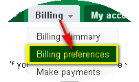 Adwords Billing Preferences