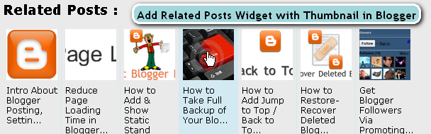 Add Related Posts Widget with Thumbnail in Blogger