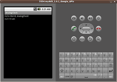 Screenshot of Android Emulator with a DigitalClock