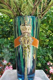 Teal Crown Vase